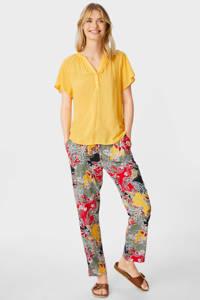 C&A regular fit broek met paisleyprint rood/kaki/geel, Rood/kaki/geel