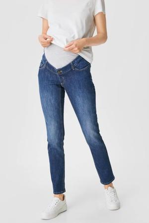 slim fit jeans met biologisch katoen donkerblauw