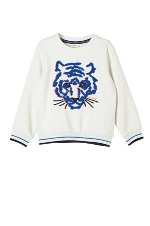 sweater met printopdruk ecru/blauw