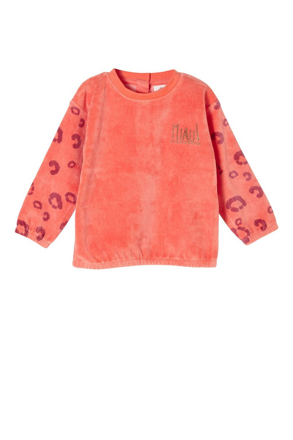 s.Oliver baby velours sweater met all over print oranje, Oranje