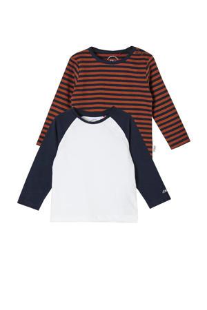 longsleeve - set van 2 donkerblauw/wit/roodoranje
