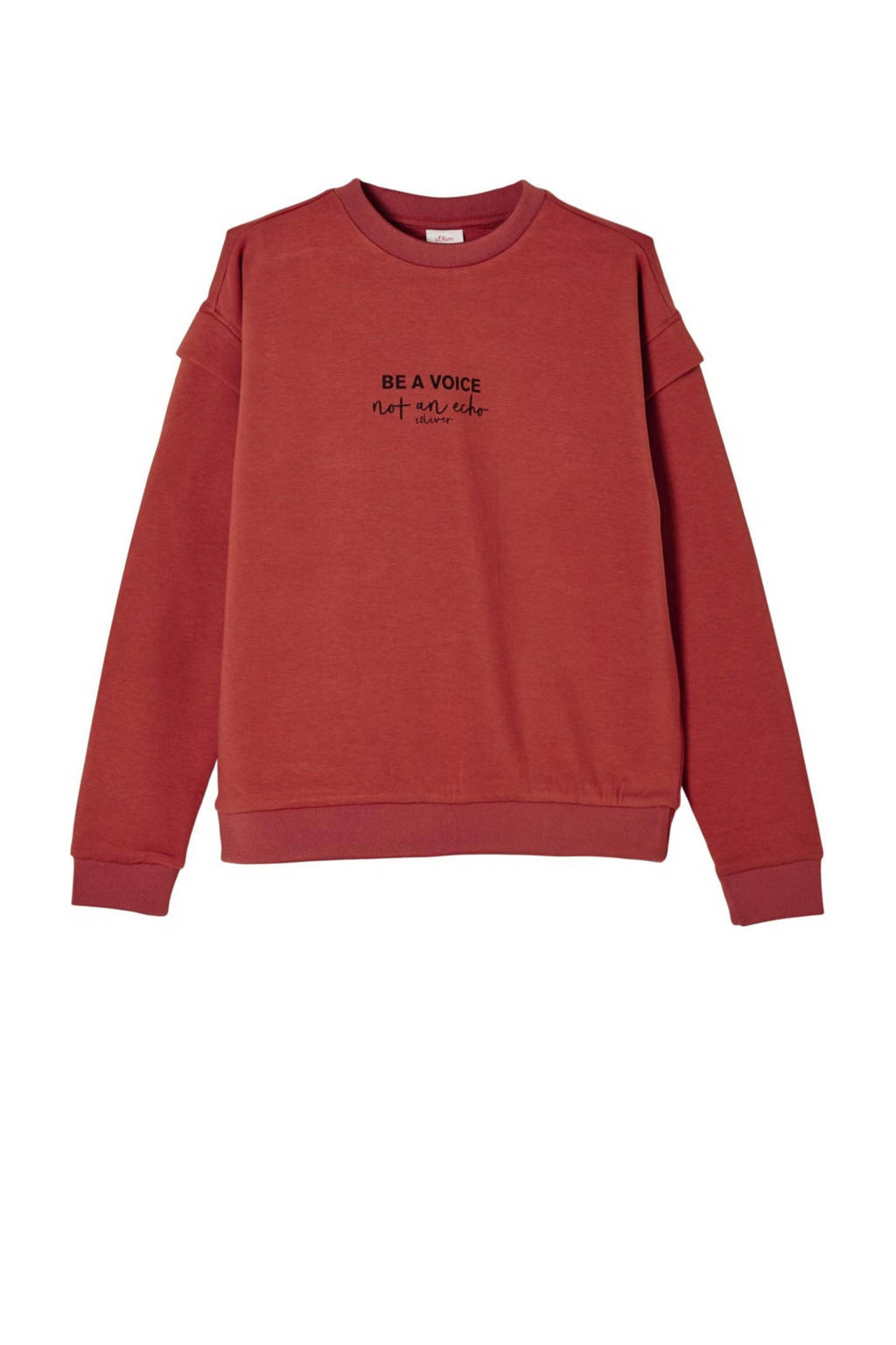 s.Oliver sweater met tekst roodbruin, Roodbruin