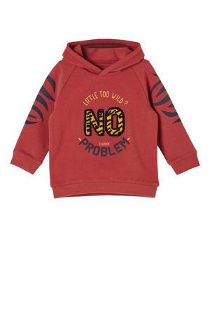 baby sweater met tekst donkerrood