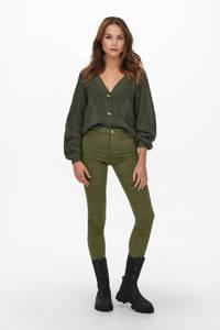ONLY high waist skinny broek ONLNANNA donkergroen, Donkergroen