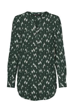 blouse VMSAGA met all over print groen/wit
