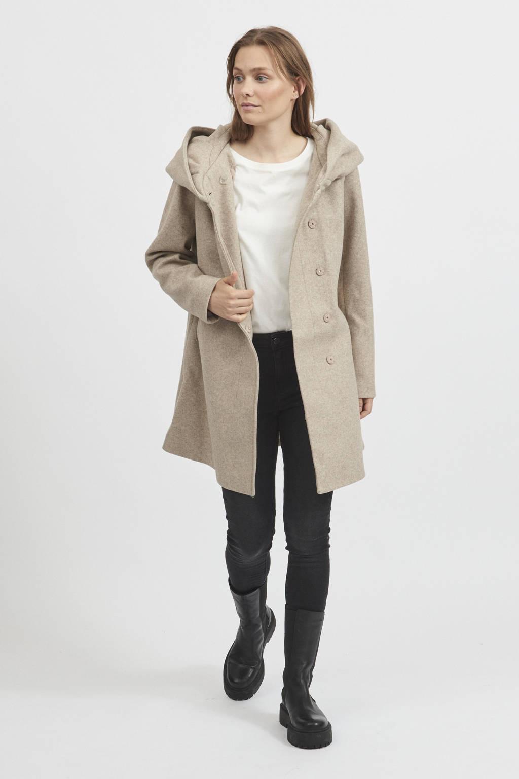 VILA  coat VICAMUA met wol beige, Beige