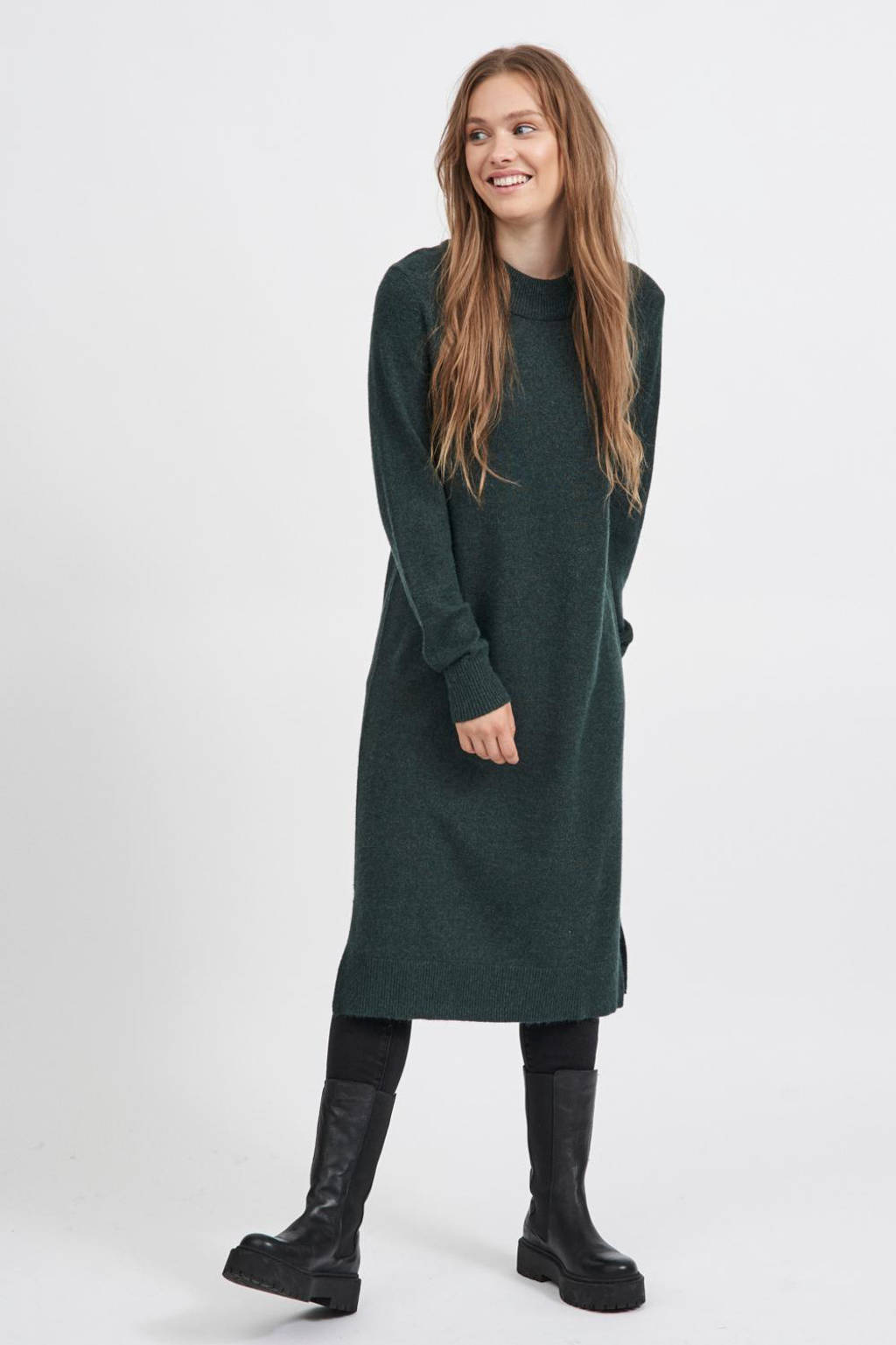 VILA fijngebreide jurk VIRIL donkergroen, Donkergroen