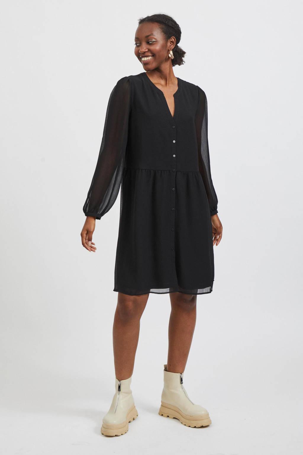 VILA semi-transparante A-lijn jurk VIAMIONE van gerecycled polyester zwart, Zwart