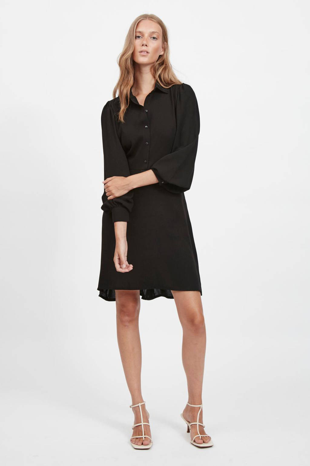 VILA A-lijn jurk VINALU  van gerecycled polyester zwart, Zwart