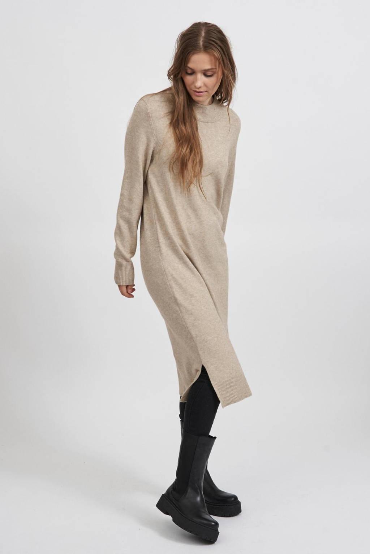VILA fijngebreide jurk VIRIL beige, Beige