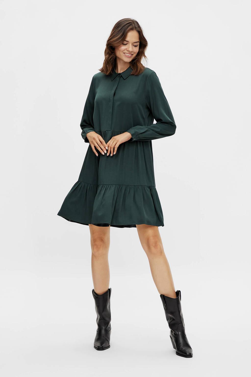 VILA trapeze jurk VIMOROSE L/S SHIRT DRESS/SU - NOOS donkergroen, Donkergroen