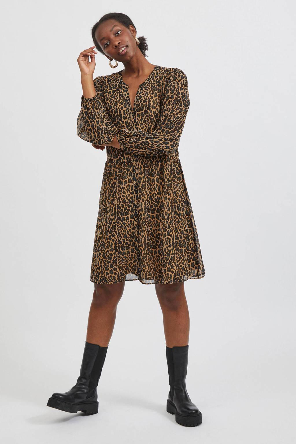 VILA semi-transparante A-lijn jurk VIAMIONE van gerecycled polyester bruin, Bruin