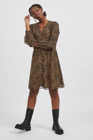 semi-transparante A-lijn jurk VIAMIONE van gerecycled polyester bruin