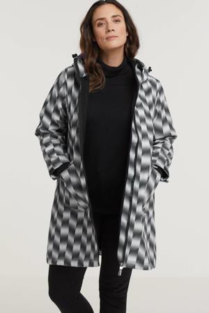softshell jas Lotte  met all over print wit/grijs