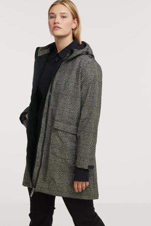 softshell jas Lotte  met dierenprint lichtgrijs/zwart