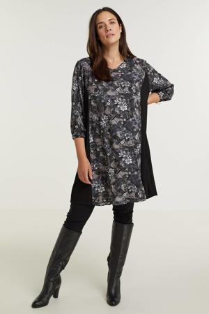 gebloemde jurk Emmy  zwart/grijs/paars