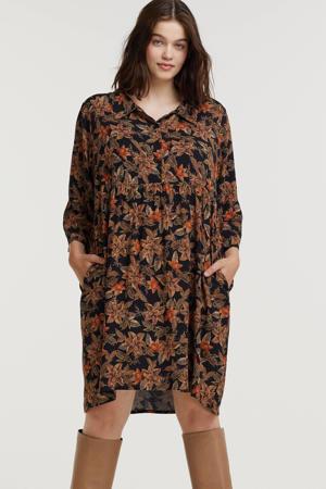 gebloemde jurk Lise  zwart/donkerrood/donker oranje