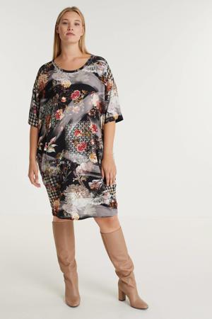jurk Sigrid  met all over print zwart/wit/rood
