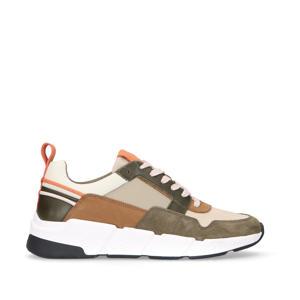 leren sneakers kaki/oranje