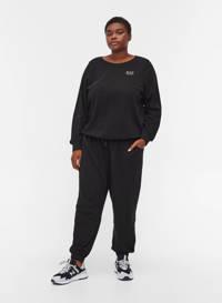 Zizzi sweater VSILLE met tekst zwart/wit, Zwart/wit