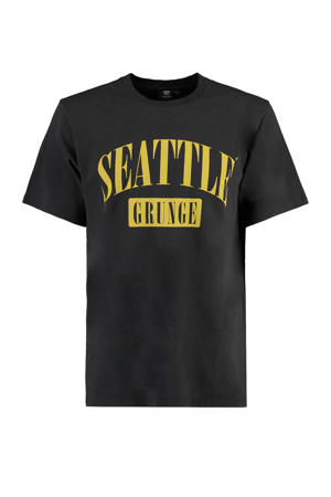 T-shirt Eddie Seattle met tekst washed black