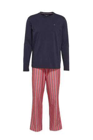 pyjama met strepen donkerblauw/rood