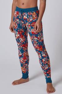 SKINY pyjamabroek met all over print petrol/rood/oranje, Petrol/rood/oranje