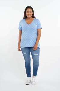 MS Mode T-shirt met all over print lichtblauw/zilver, Lichtblauw/Zilver