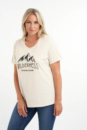 T-shirt met printopdruk en kraaltjes ecru/zwart/zilver