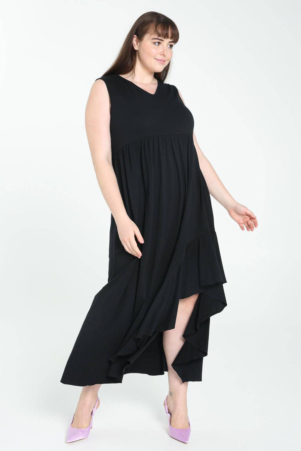 PROMISS jurk met volant zwart, Zwart