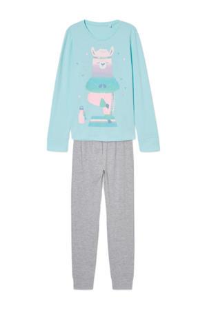 pyjama met printopdruk lichtblauw/grijs