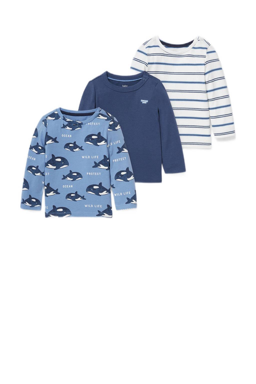 C&A Baby Club longsleeve - set van 3 blauw/wit, Blauw/wit
