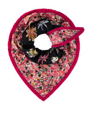 reversible sjaal Double Flower roze/donkerblauw