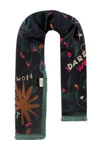 POM Amsterdam sjaal Flower Love donkergroen, Donkergroen