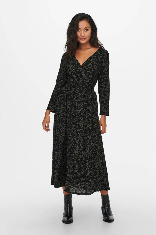 ONLY gebloemde jurk ONLPELLA donkergroen/zwart, Donkergroen/zwart