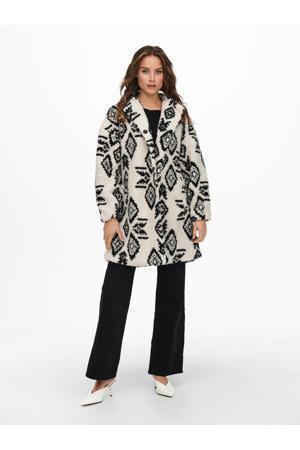 teddy coat ONLISABELLA met all over print ecru/zwart