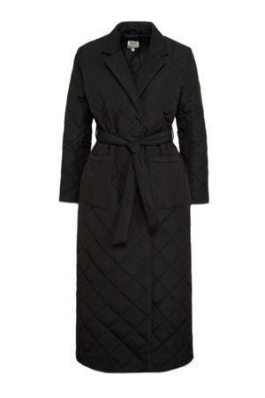 gewatteerde jas ONLTRILLION met ceintuur zwart