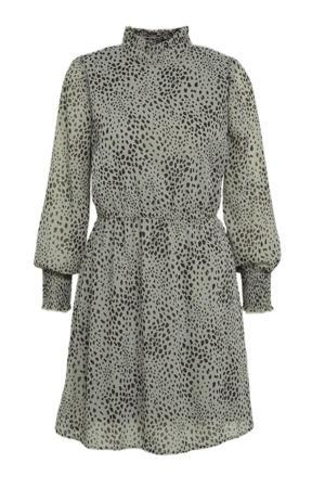 jurk ONLSTAR met all over print en open detail groen/zwart
