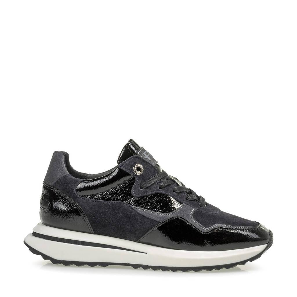 Floris van Bommel SUMI  lakleren sneakers zwart, Zwart