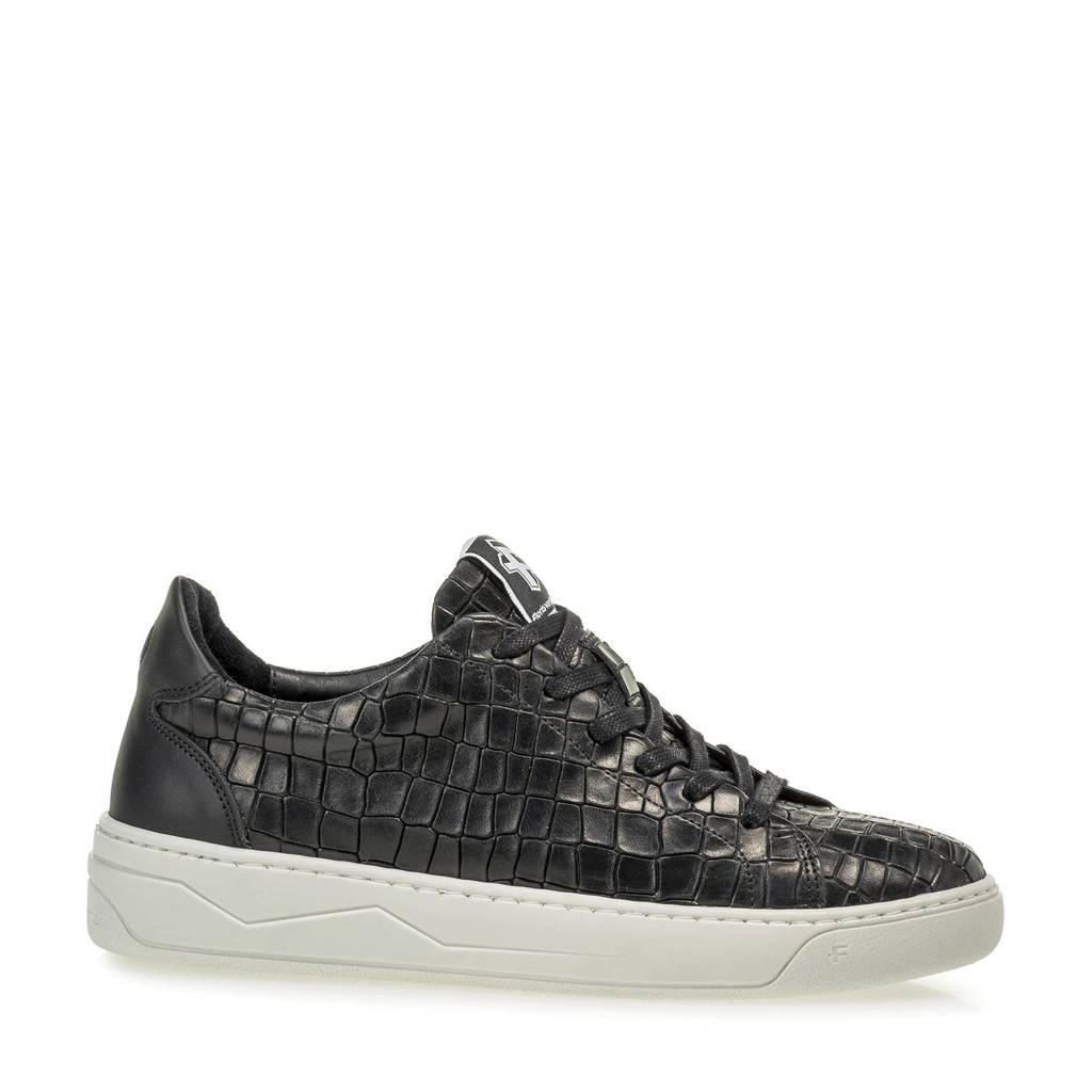 Floris van Bommel JIGGI  leren sneakers met crocoprint zwart, Zwart