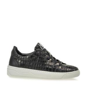 JIGGI  leren sneakers met crocoprint zwart