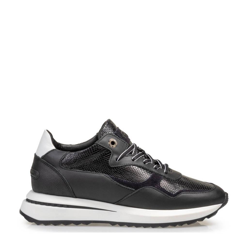 Floris van Bommel SUMI  leren sneakers zwart, Zwart