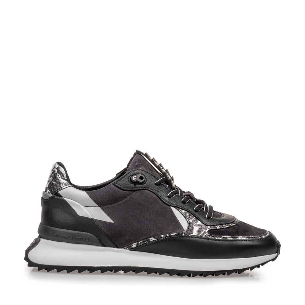 Floris van Bommel SHARKI  leren sneakers zwart, Zwart