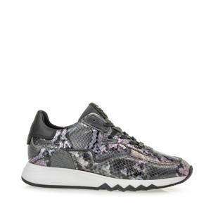 NINETI  leren sneakers met slangenprint grijs/lila