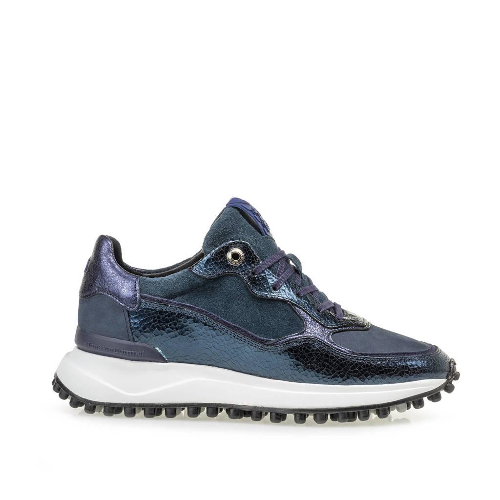 Floris van Bommel NOPPI  leren sneakers blauw/metallic