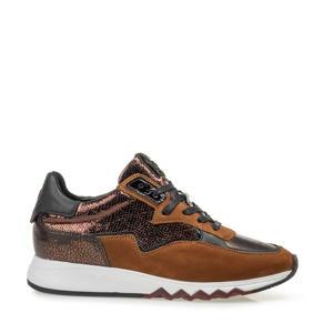 NINETI  nubuck sneakers koper/bruin