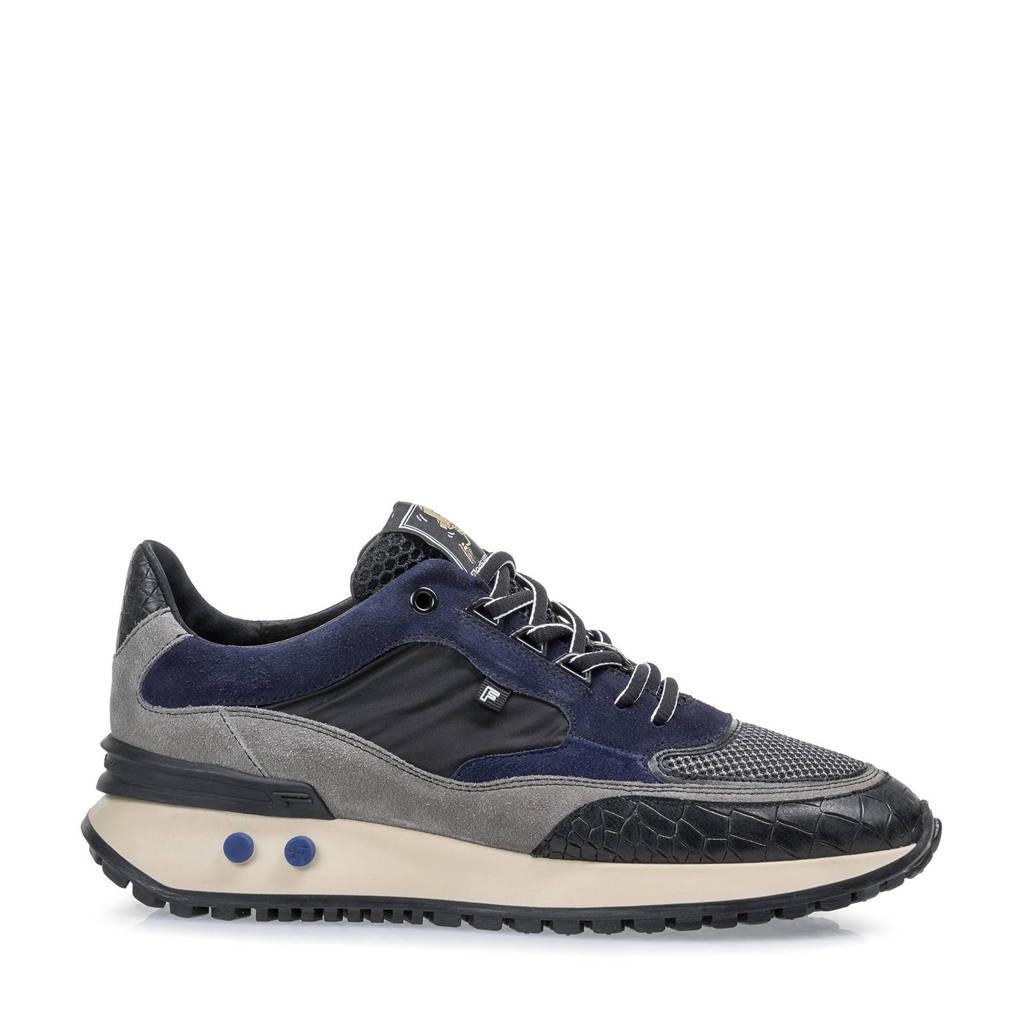 Floris van Bommel Vinti  suède sneaker blauw, Blauw/grijs