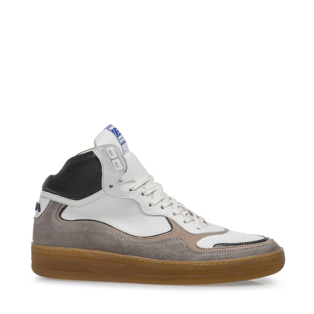 Floris van Bommel Wembli  hoge leren sneakers wit/grijs, Wit/grijs