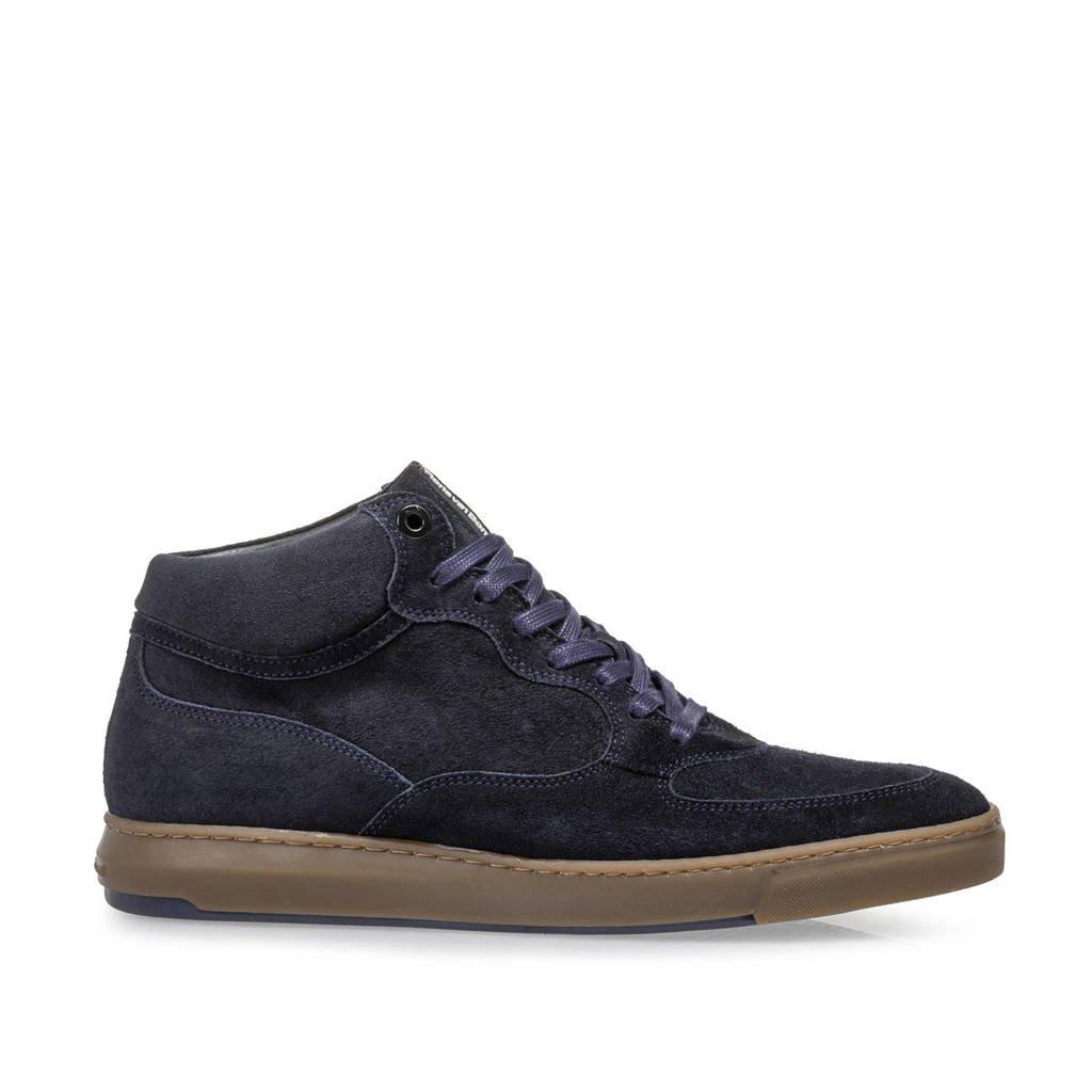 Floris van Bommel Lenni  suède sneakers donkerblauw, Donkerblauw