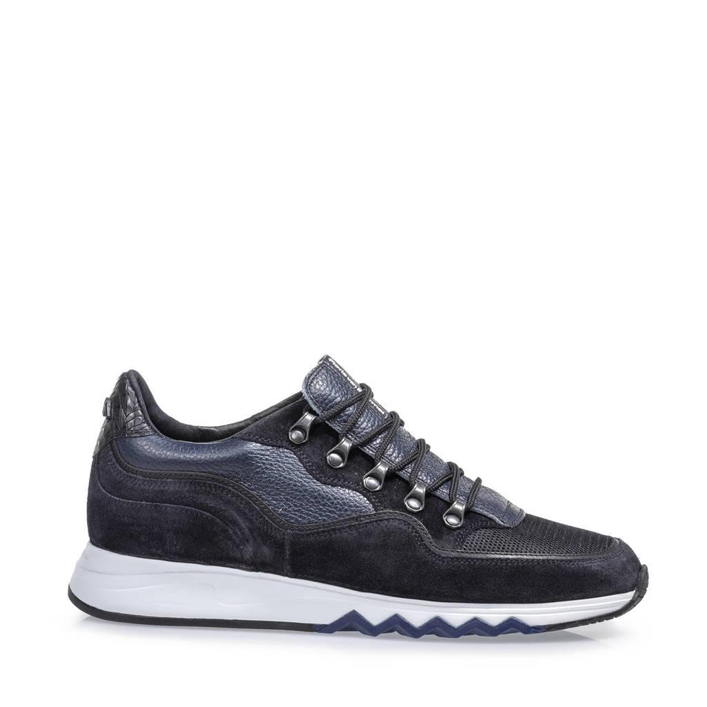 Floris van Bommel Nineti  suède sneakers donkerblauw, Donkerblauw